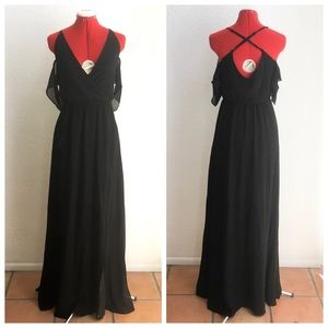 Tobi Rhythm Black Maxi Ruffle Cold Shoulder Gown